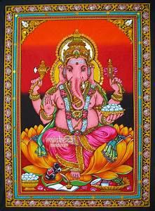 hindu elephant god Ganesh Ganesha sequin wall hanging