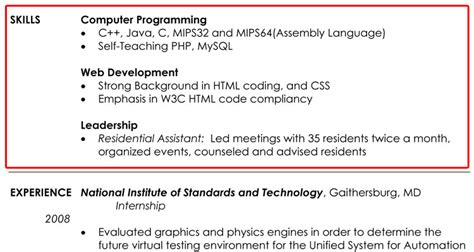 resume example for skills section writing your resume hood college