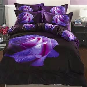 Queen Bedroom Comforter Sets by Fs 788 4pc Set 100 Cotton 3d Purple Rose Floral Print