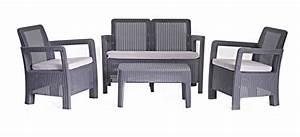 Salon De Jardin En Résine Tressée : stunning table de jardin en resine corfu gris anthracite ~ Premium-room.com Idées de Décoration