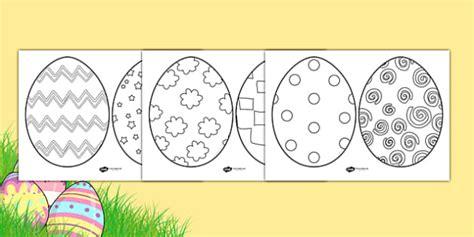 ks easter egg template colouring sheets