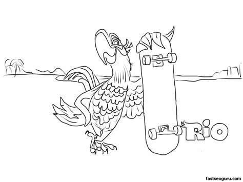 Printable Cartoon Blu Rio Coloring Page