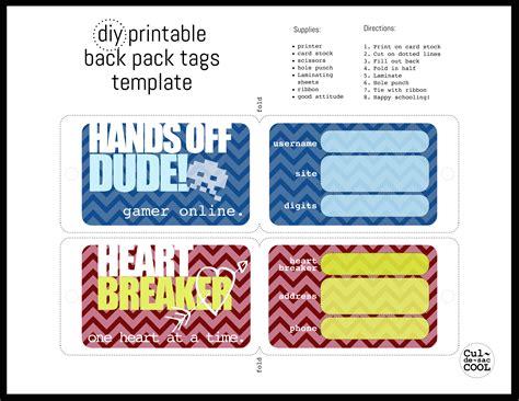diy printable  pack tags