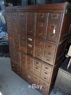 antique vintage oak library card catalog file cabinet  drawer globe stacking