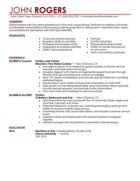 Resume Of A Server by 10 Restaurant Server Resume Exles Sle Resumes