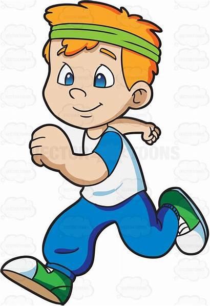 Jogging Jog Clipart Cartoon Boy Clip Running