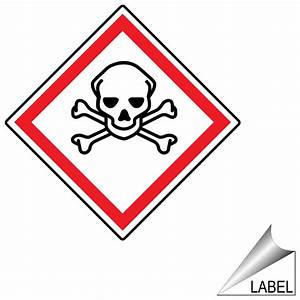 ghs skull and crossbones symbol label ghs label sym 1100 With chemical hazard label