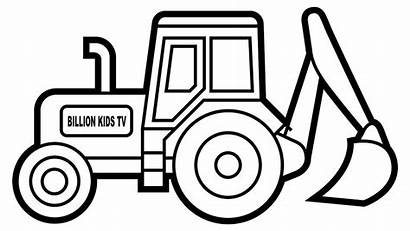 Digger Colouring Excavator Printable Clipart Truck Coloring
