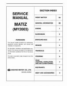 Pdf  Complete Service Manual For Daewoo Matiz