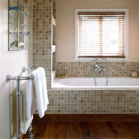 bathroom with neutral mosaic tiles bathroom