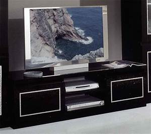 Meuble Laqué Noir : meuble tv plasma chic laque noir ~ Premium-room.com Idées de Décoration