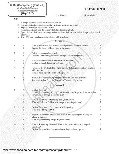 Question Paper - Master of Science in Computer Science