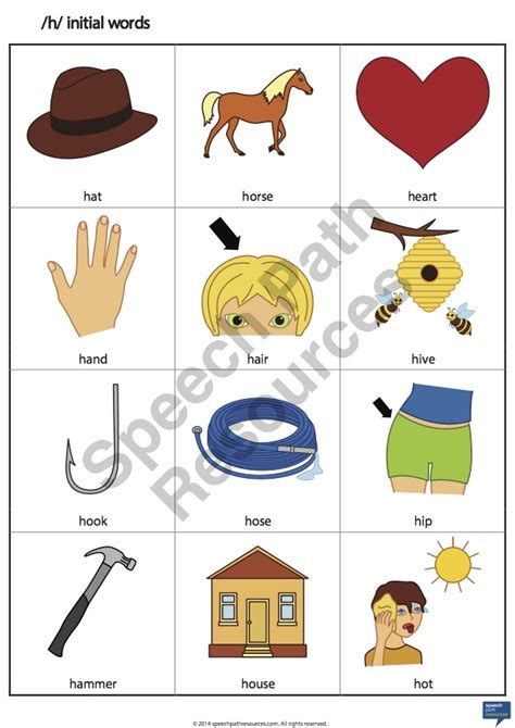 words that begin with the letter h h initial words speech path resources 26498