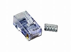 Cat6 Rj45 50u Crimp Connectors With Wire Loading Guide