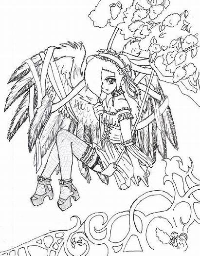 Coloring Gothic Pages Printable Fairy Halloween Adults