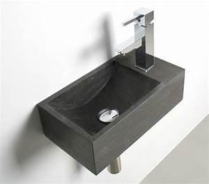 Lave Main Rectangulaire : vasque calcaire rectangulaire neka gris fonc vasque ~ Premium-room.com Idées de Décoration