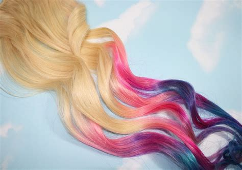 Dipped Dyed Tips Pastel Tie Dye Tips Human Hair Extensions