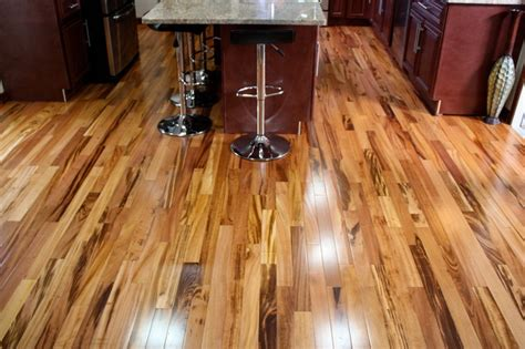 tiger wood floor exotic brazilian tigerwood koa prefinished modern kitchen minneapolis by unique wood floors