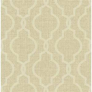 Kenneth James Geometric Jute Gold Quatrefoil Wallpaper ...