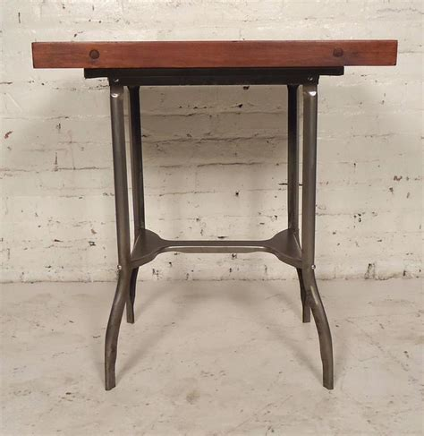 small metal table l small industrial metal wood top table for sale at 1stdibs