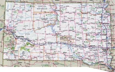large detailed roads and highways map of south dakota
