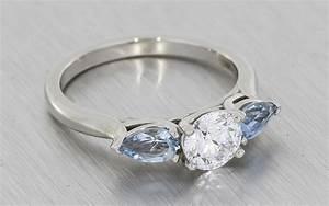 3 stone aquamarine engagement ring portfolio durham rose With aquamarine wedding ring