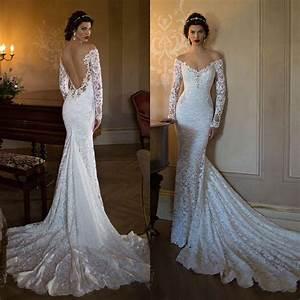 2015 berta mermaid backless wedding dresses lace applique for Lace backless wedding dress