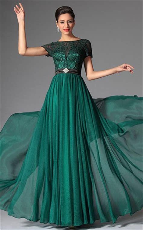 dark green bateau neckline long chiffon lace bridesmaid dress  short sleeve jt ca