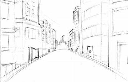 Street Drawing Animation Simple Sketch Sketches Coloring