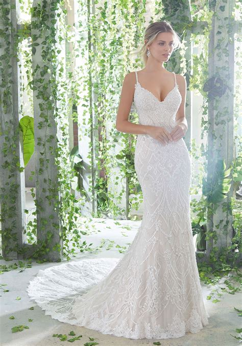 Alençon Lace Appliqués With Frosted Beading Onto Tulle