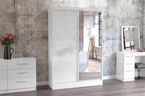 White Wardrobe With Mirror by Birlea Furniture Lynx Lynx White 2 Door Sliding Wardrobe