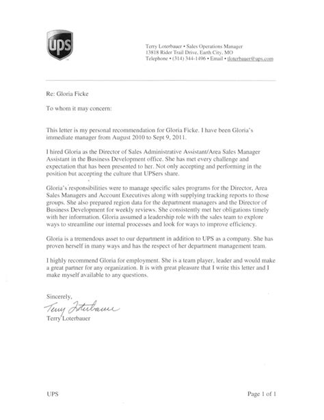 Ups Letter Of Recommendation