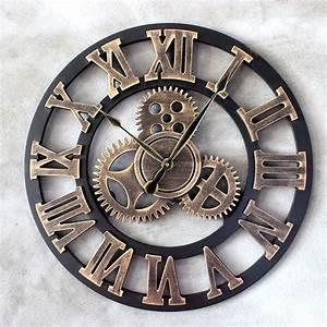 Römische Zahlen Uhr : vintage wanduhr holz quarzuhr r mische zahlen uhr zahnrad design 45cm golden ebay ~ Orissabook.com Haus und Dekorationen