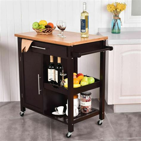 rolling islands for kitchens rolling wood kitchen island trolley cart bamboo top