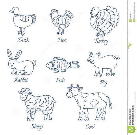 farm animals outline drawing linear  drawings litle pups