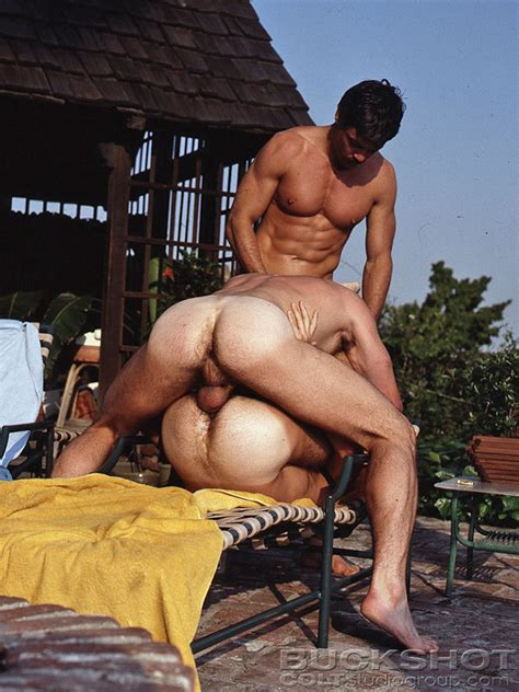 vintage gay threesome poolside with hard bodies and big cocks for fucking