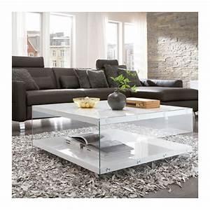 Table Basse Blanc Laqué : table basse blanc laqu et verre athena tables basses design ~ Teatrodelosmanantiales.com Idées de Décoration