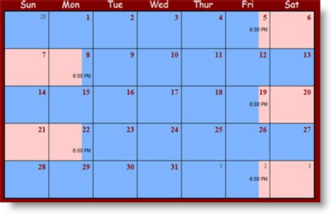 Child Visitation Calendar Template by Sle Parenting Time Schedules Part 2 Custody