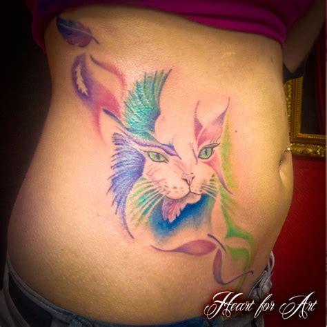 watercolour cat butterfly  bird tattoo heart  art