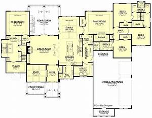Ranch Style House Plan - 4 Beds 3.5 Baths 3366 Sq/Ft Plan ...