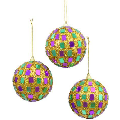 mardi gras disco ball ornaments set of 3 zj102