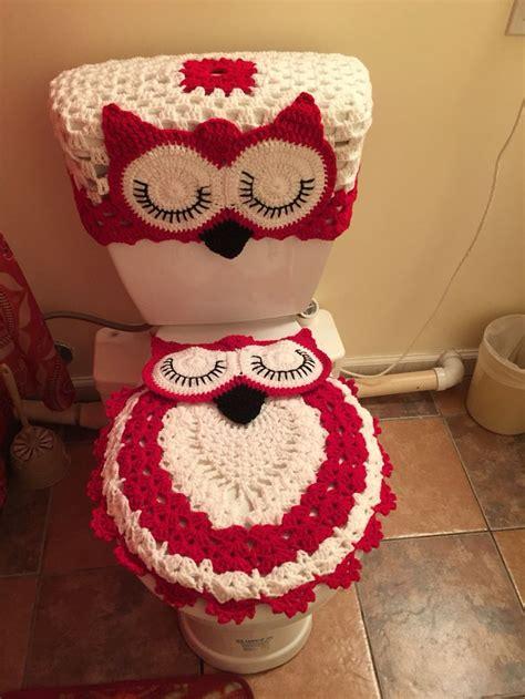 owl bathroom set hecho por m 237 a crochet pinterest