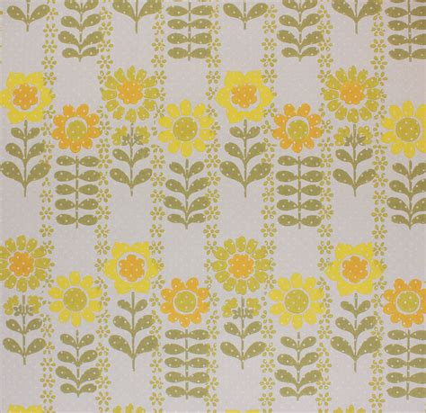 vintage wallpaper retro yellow  green flowers