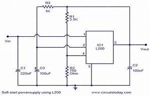 Soft Start Power Supply Using L200