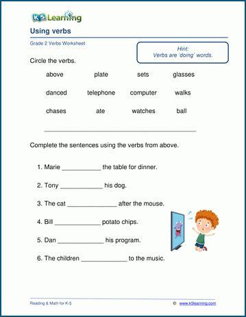 verbs worksheets  grade   learning