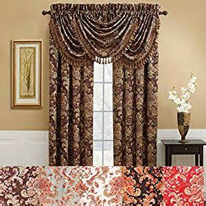 amazon com serafina curtain red 84 quot home kitchen