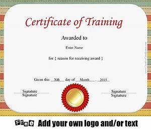 Free Certificate Template Free Certificate Of Training Template Customizable