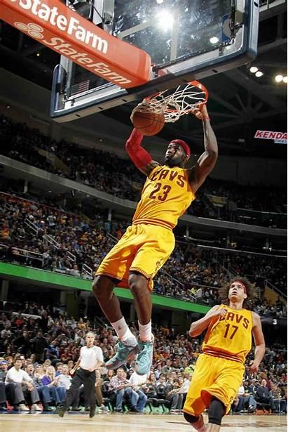 Lebron James Dunk Cavs Dunking Dunks Cleveland