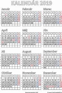 Kalendár pre tlač na rok 2019 PDF pre tlač zdarma