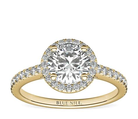 classic halo diamond engagement ring   yellow gold